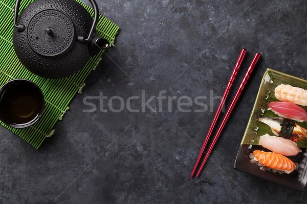 セット 寿司 緑茶 石 表 先頭 ストックフォト © karandaev