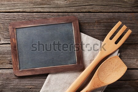 Blackboard and cooking utensils Stock photo © karandaev