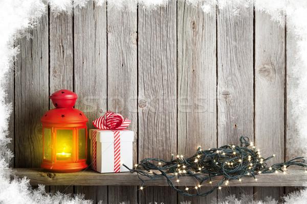 Karácsony gyertya lámpás karácsony fények ajándék doboz Stock fotó © karandaev