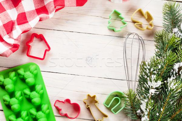 Gotowania przybory choinka drewniany stół christmas górę Zdjęcia stock © karandaev