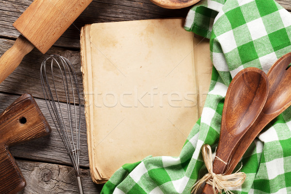 Blank vintage recipe cooking book and utensils Stock photo © karandaev