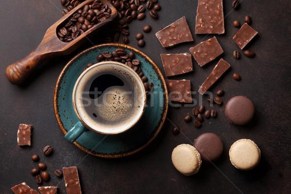 Coffee cup, chocolate and macaroons on old kitchen table Stock photo © karandaev