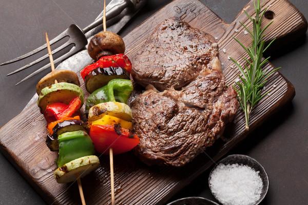 ストックフォト: 焼き · 野菜 · まな板 · 木製のテーブル · 先頭