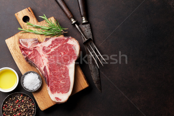 Steak brut cuisson pierre table haut Photo stock © karandaev