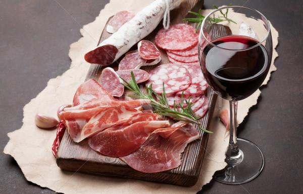Salame salsicha prosciutto vinho presunto Foto stock © karandaev