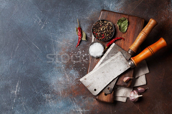 Vintage meat knives and spices Stock photo © karandaev