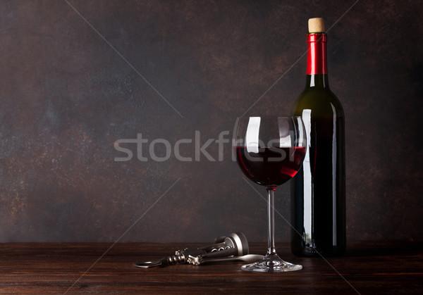 şişe cam tahta duvar bo Stok fotoğraf © karandaev