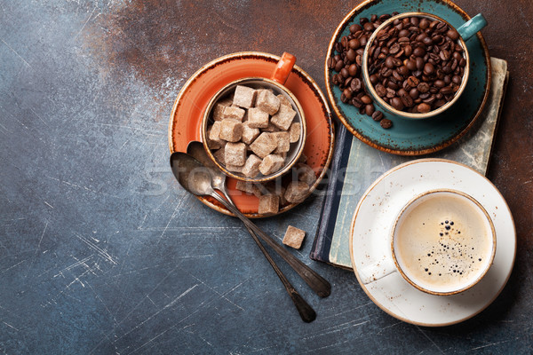 Coffee cups, beans and sugar Stock photo © karandaev