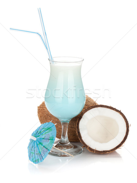 Bleu Hawaii cocktail noix de coco isolé blanche Photo stock © karandaev