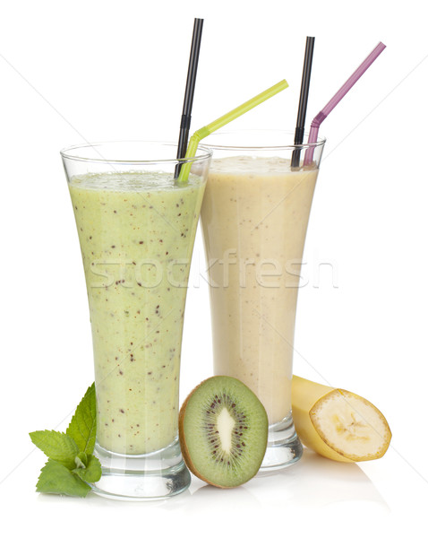 Kiwi and banana milk smoothie Stock photo © karandaev