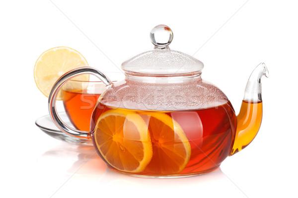 Glas theepot beker zwarte thee citroen Stockfoto © karandaev