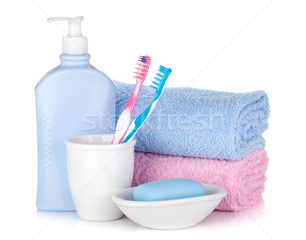 Toothbrushes, gel, soap and two towels Stock photo © karandaev