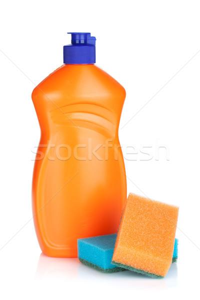 Foto stock: Plástico · garrafa · limpeza · produto · isolado · branco