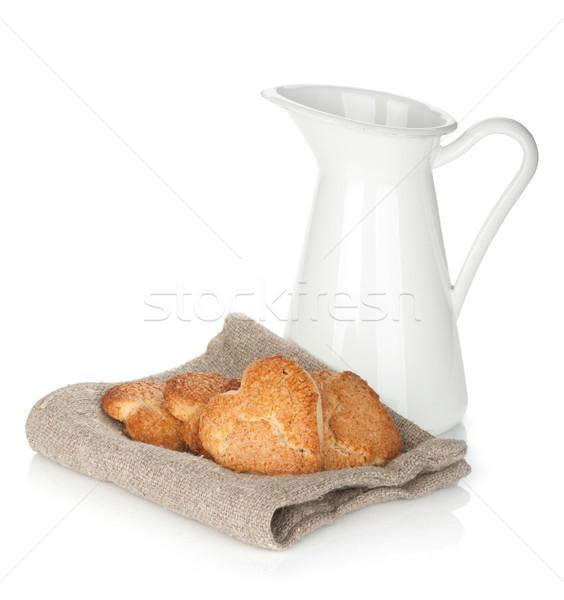 Különböző sütik tejesflakon izolált fehér háttér Stock fotó © karandaev