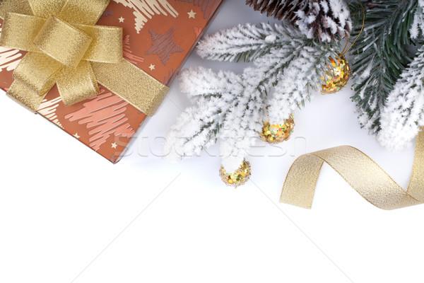 Stock foto: Geschenkbox · Weihnachten · Dekor · isoliert · weiß