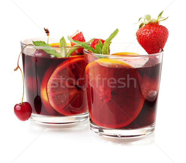 Two glasses of fresh fruit sangria Stock photo © karandaev