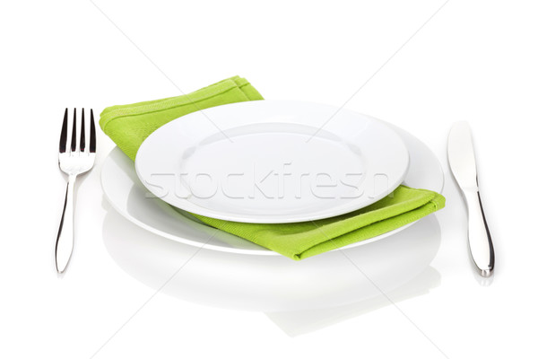 Silverware or flatware set of fork and knife with plates Stock photo © karandaev