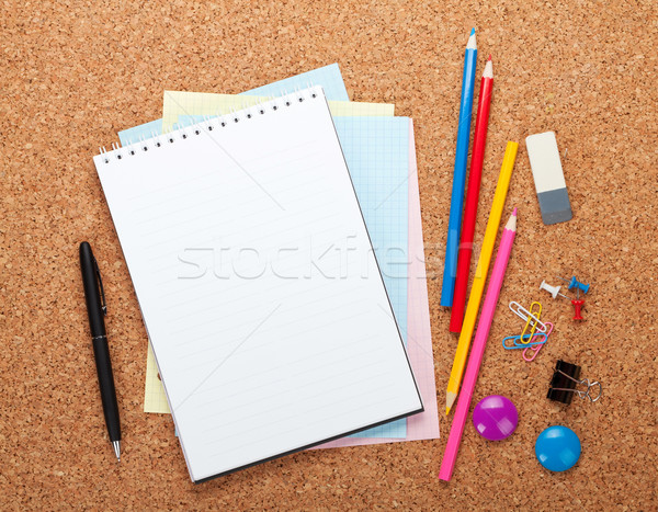 Blank notepad on cork notice board Stock photo © karandaev