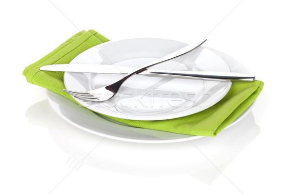 столовое серебро набор вилка ножом пластин изолированный Сток-фото © karandaev