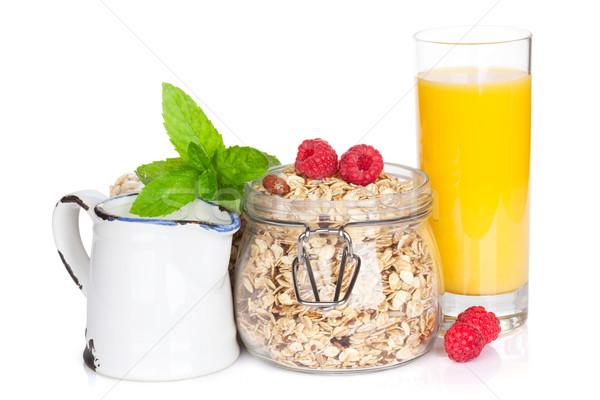 Gezonde ontbijt müsli bessen sinaasappelsap geïsoleerd Stockfoto © karandaev