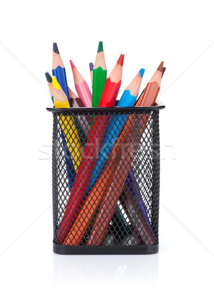 Colorful pencils in holder Stock photo © karandaev