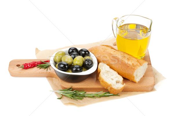 Stockfoto: Italiaans · eten · voorgerechten · olijven · brood · specerijen · geïsoleerd