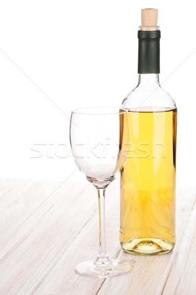 Witte wijn glas fles witte houten tafel wijn Stockfoto © karandaev