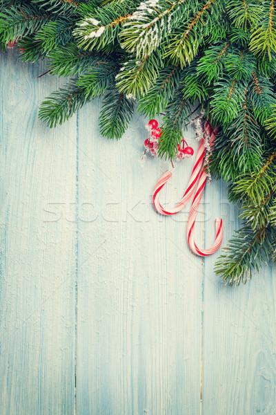 Candy Zuckerrohr Weihnachtsbaum Holztisch top Ansicht Stock foto © karandaev