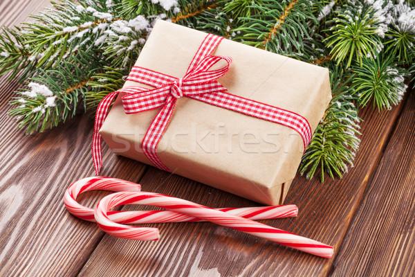 Рождества шкатулке конфеты тростник деревянный стол Сток-фото © karandaev