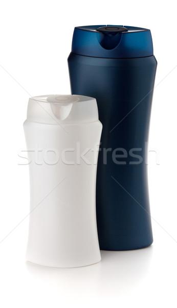 Branco azul xampu garrafas isolado corpo Foto stock © karandaev