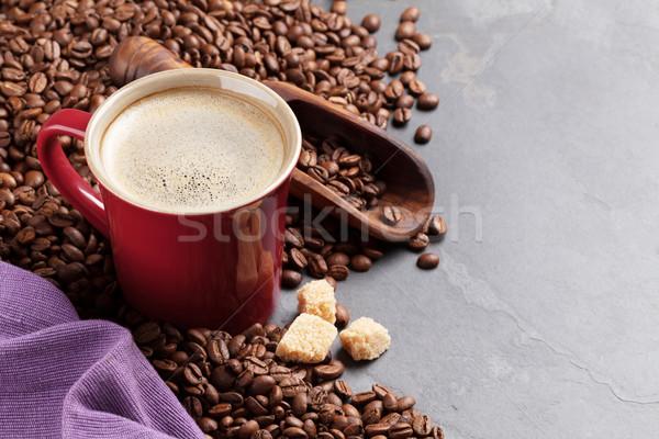 Kahve fincanı fasulye esmer şeker taş tablo görmek Stok fotoğraf © karandaev