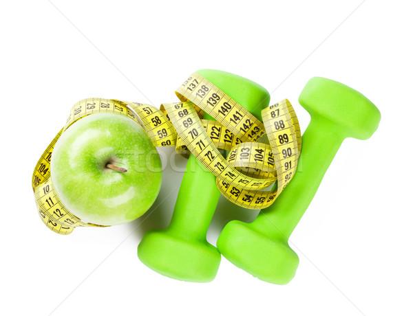 гантели яблоко рулетка фитнес изолированный белый Сток-фото © karandaev