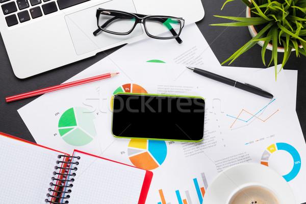 Foto stock: Oficina · mesa · portátil · café · informes