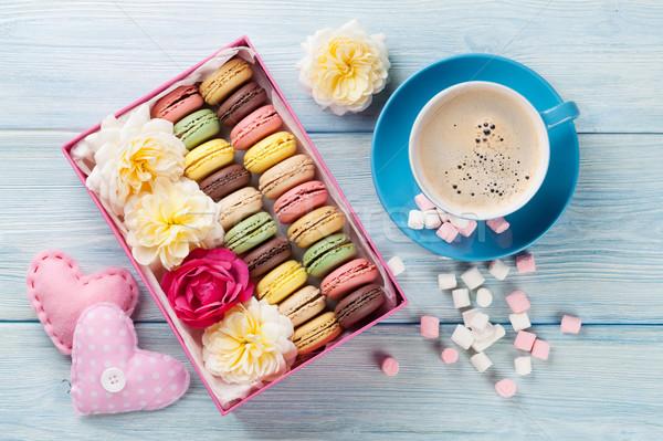 кофе Sweet macarons шкатулке красочный проскурняк Сток-фото © karandaev