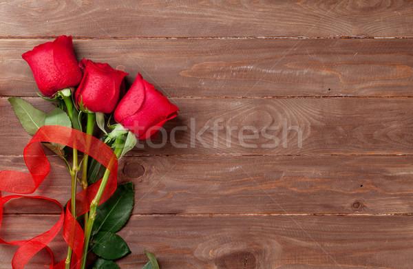 Red roses bukiet górę widoku kopia przestrzeń Zdjęcia stock © karandaev