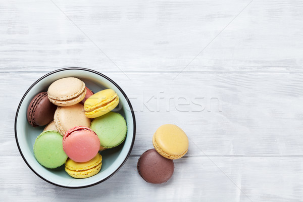 Stock photo: Colorful macaroons. Sweet macarons