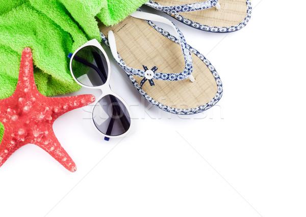 Stockfoto: Strand · zonnebril · zeester · geïsoleerd