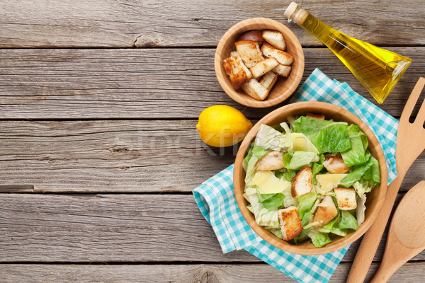 Fresh healthy caesar salad Stock photo © karandaev