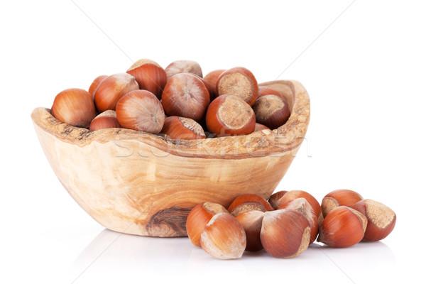 Châtaigne noix bol isolé blanche fond Photo stock © karandaev