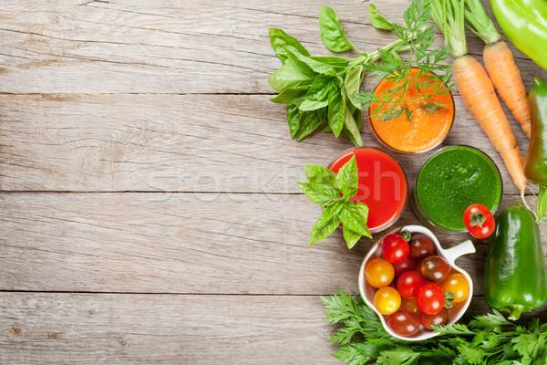 Stock fotó: Friss · zöldség · smoothie · paradicsom · uborka · sárgarépa · fa · asztal