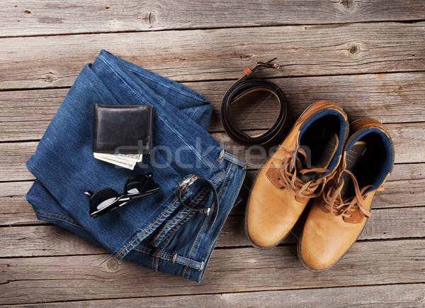 Vestiti accessori jeans scarpe occhiali portafoglio Foto d'archivio © karandaev