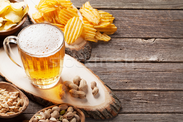 Lager beer mug and snacks Stock photo © karandaev