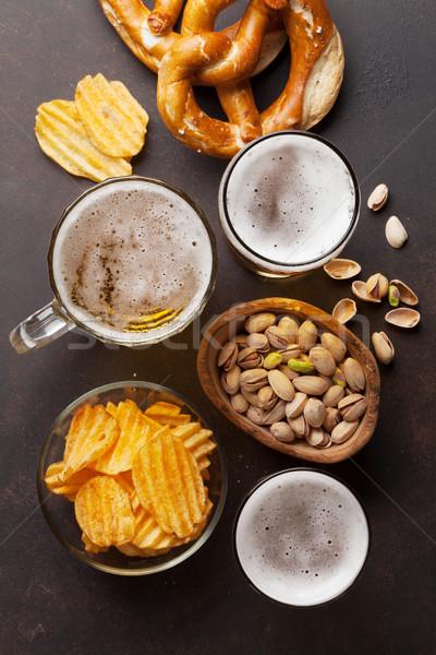 Alman birası bira taş tablo fındık Stok fotoğraf © karandaev