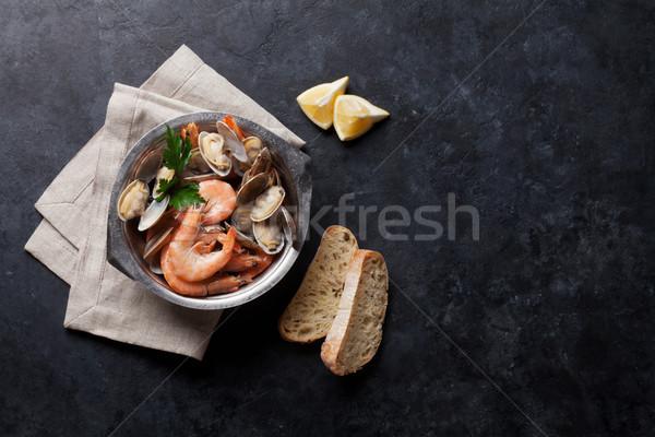 Friss tengeri hal tál kő asztal felső Stock fotó © karandaev