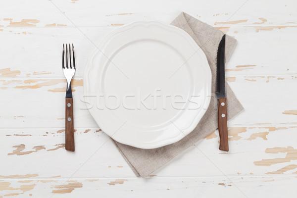 пусто пластина столовое серебро деревянный стол Top мнение Сток-фото © karandaev