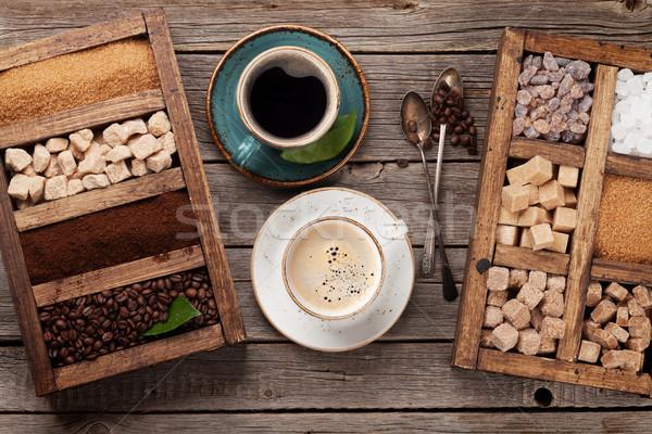 コーヒーカップ 豆 ブラウンシュガー 先頭 表示 ストックフォト © karandaev