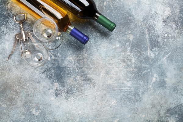 Beyaz şarap şişeler gözlük üst görmek uzay Stok fotoğraf © karandaev