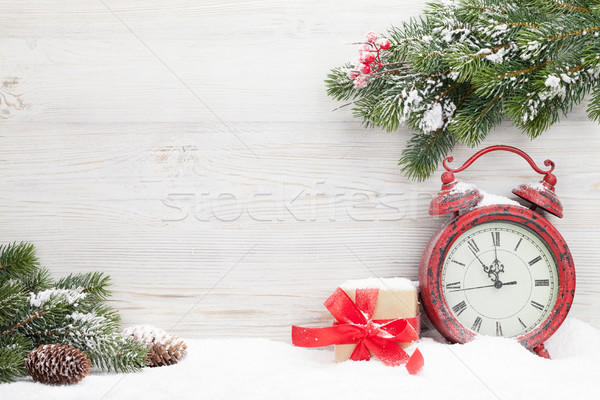 Christmas gift box, alarm clock and fir tree Stock photo © karandaev