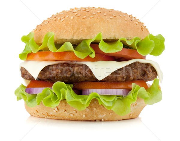 Fresco burger isolado branco carne cor Foto stock © karandaev