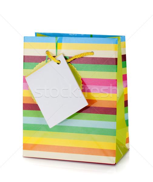 Stockfoto: Gekleurd · geschenk · zak · geïsoleerd · witte · papier